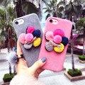 Moda coreano 3d sun flower caso pano para iphone 6 6 s 4.7 6 plus 6 splus 5.5 case para iphone 7 7 plus girassol macio da tampa do caso