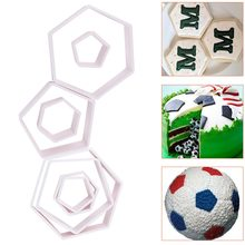 4Pcs/set Football fondant cutter frame cake moulds Food grade chocolate gum paste moulds Boy birthday Cake Decorative Molds tool(China)