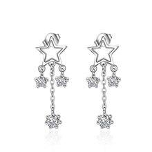 XIYANIKE-pendientes pentagonales de estrella de circonita para mujer, de Plata de Ley 925, de personaje Simple, aretes, aros, VES6611