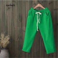 2017 Summer Style Retro Trousers Pure Color Women S Casual Pants Drawstring Pockets Cotton Linen Calf