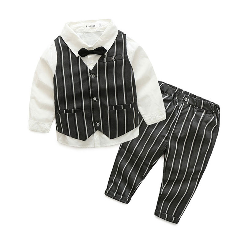 Spring Formal Long Sleeve Clothing Set for Baby Boy Wedding And Party Costume Children's Boy Clothing Suit Blouse+Vest+Pant 3PCS baby boy clothes suits vest plaid shirt pants 3pcs set party formal gentleman wedding long sleeve kid clothing set free shipping