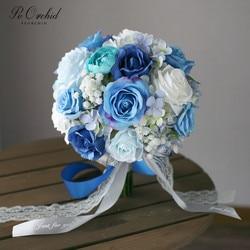PEORCHID Rose Blue Wedding Bride Bouquet Hand Bridesmaid Bouquet Hydrangea Flowers Artificial Bridal Bouquet Vintage 2019