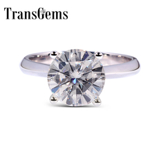 TransGems 14K 2.5 Carat F color Pure Moissanite Diamond Womens Ring White Gold Romantic Lady Propose Marry Engaged Wedding