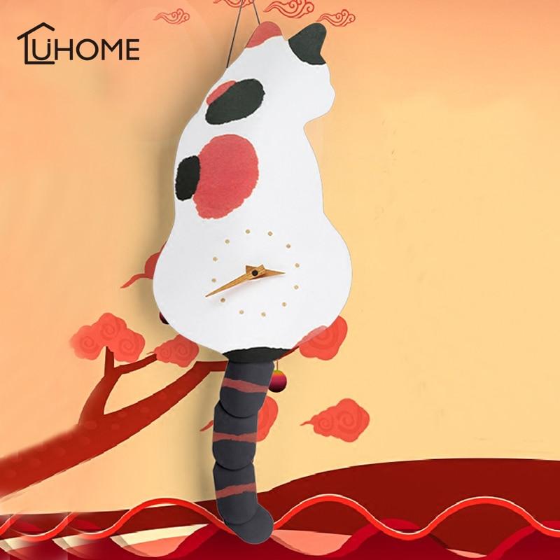 Creative Wall Clock Naughty Cat Wag Tail Vivid DIY Living Room Home Wall Decoration Fashion Watches