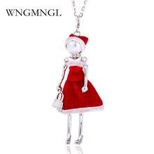 WNGMNGL Handmade New Little Girl Doll Pendants Necklace Long Chain Dress Christmas Gift Fashion Women Kids
