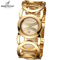 Featured Brand Lady Date Gold Tone Bangle Bracelet Watches Women Fashion Crystal Dial Infinity Jewelry Wrist
