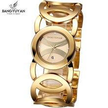 Cristal de moda para mujer reloj pulsera relojes del brazalete dorado mujeres marca de lujo para mujer reloj relojes hora fecha regalo relogio feminino