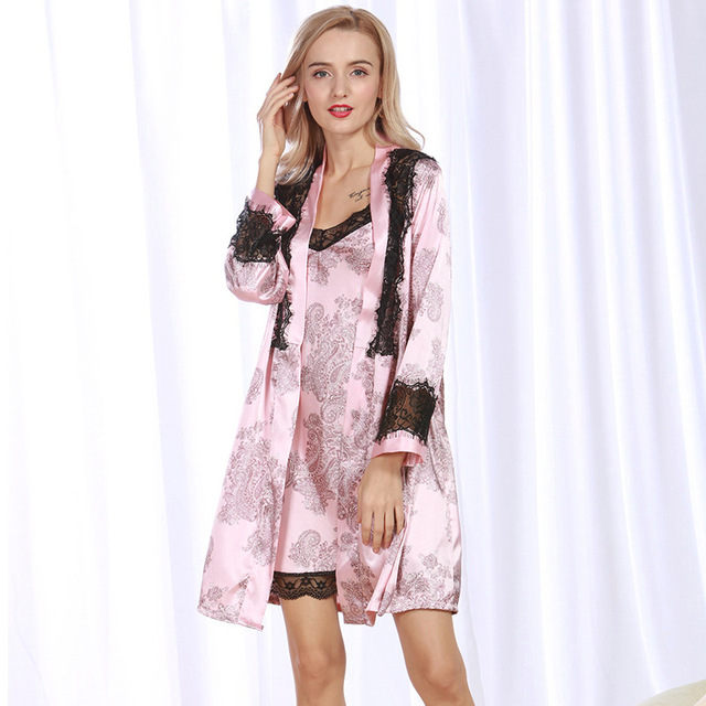 Robe Gown Set Satin Sleepwear Bridesmaid Robes Flower Print ...