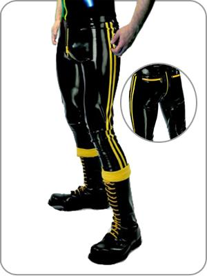 Suitop sexy black latex back pocket zip black and yellow trim 0.6mm thickness