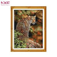 NKF 14CT 11CT Stamped And Counted Cheetah Long Stitch Embroidery Needlework Diy Cross Stitch Sets For