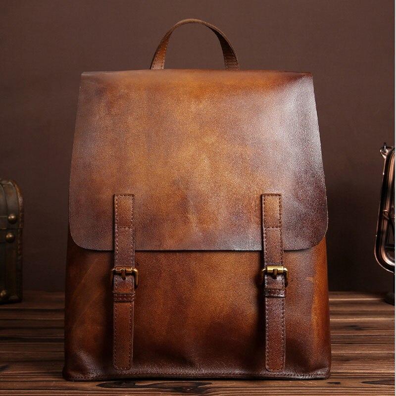 BULLCAPTAIN Retro Unisex Genuine Leather Cowhide Rucksack Brand High Quality Casual Daypack Bookbag Travel Knapsack