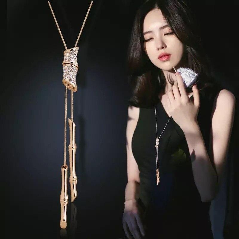 BYSPT Snefnug Lang Halskæde Mode Krystalblomst Swan Tulip Vedhæng - Mode smykker - Foto 6