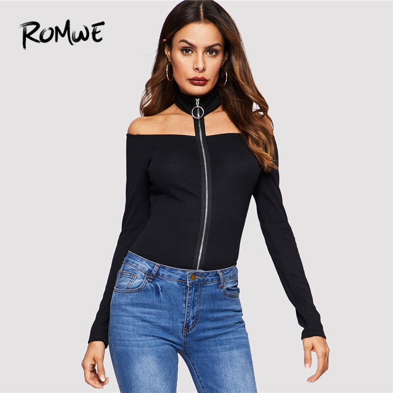 b6436f50562d0 ROMWE Zip Up Halter Off Shoulder Tee 2019 Fashion Women Spring Autumn Sexy Tops  Slim Fit