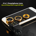 4 In 1 Universal Phone Lens Smartphone Fish Eye/Macro/Wide-Angle LED Selfie light for iphone Samsung Huawei LG