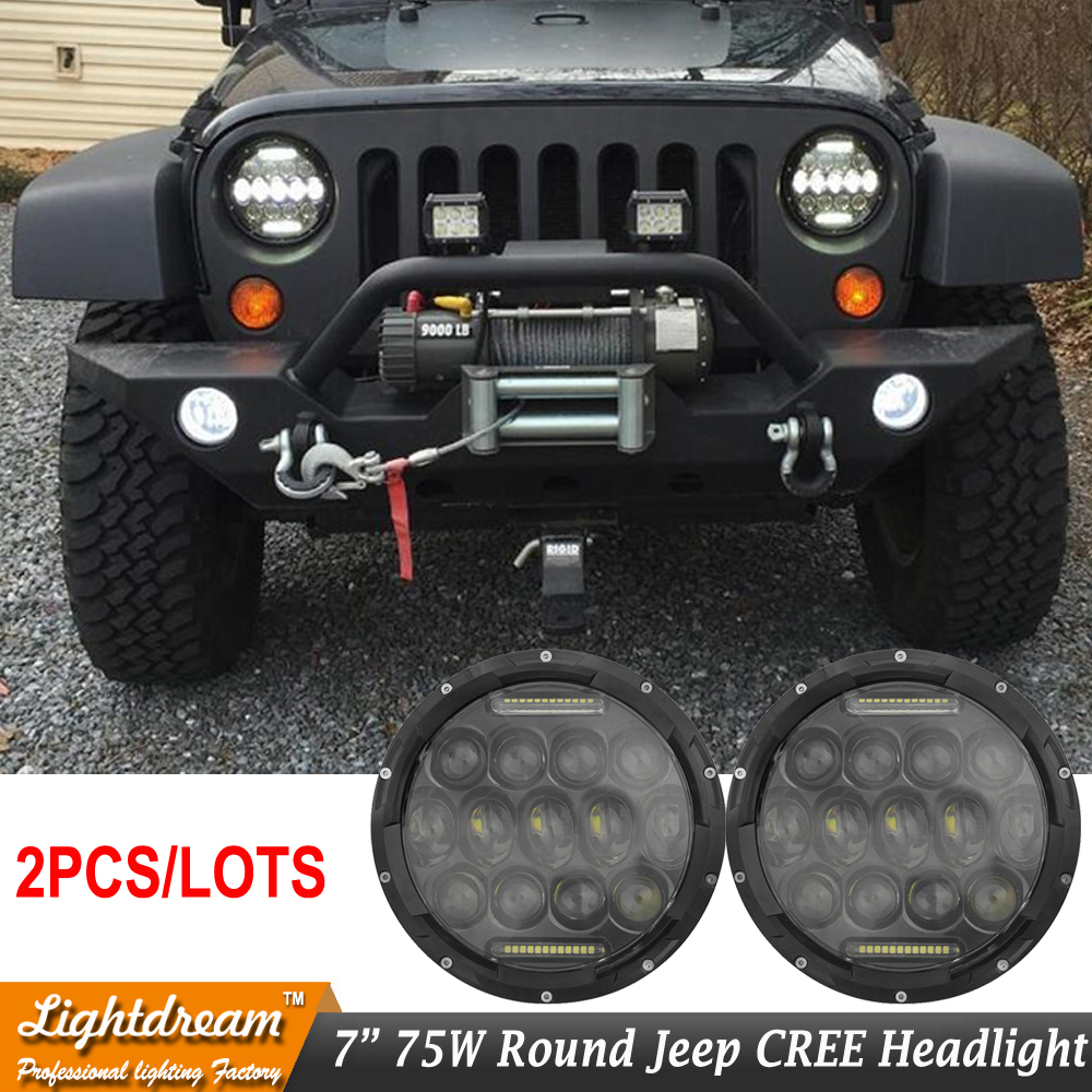 Pair Round 7 Inch Headlight H4 Motorcycle 75W Round Led Headlamp Daytime Running Light Hi-low Car Head Light for Wrangler TJ JK motorcycle h4 hs1 led headlight bulb h l hi lo high low dual motorbike motocross light kit headlamp scooter atv moto head lamp