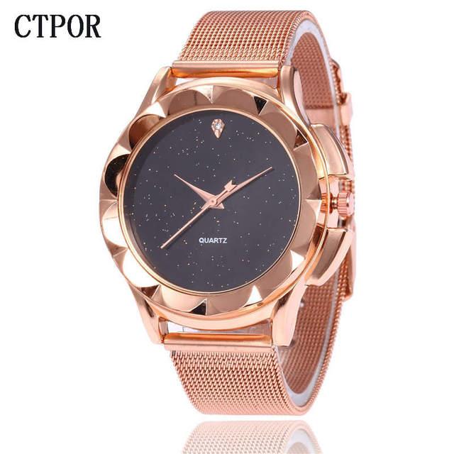 Rose Gold Steel Bracelet Watch Fashion Women's Watches No Logo Design CTPOR Luxu