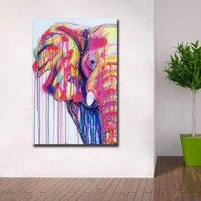 Модные цвета слон Поп-Арт холст живопись для гостиной украшение дома картина маслом на холсте Настенная картина без рамы