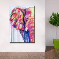Mode Farben Elefant Pop kunst Leinwand Malerei Für Wohnzimmer Dekoration Ölgemälde Auf Leinwand Wand Malerei Unframed-in Malerei und Kalligraphie aus Heim und Garten bei