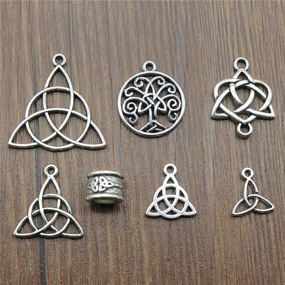 Triquetra Symbol Pendants Charms Jewelry-Making Silver-Color 15pcs