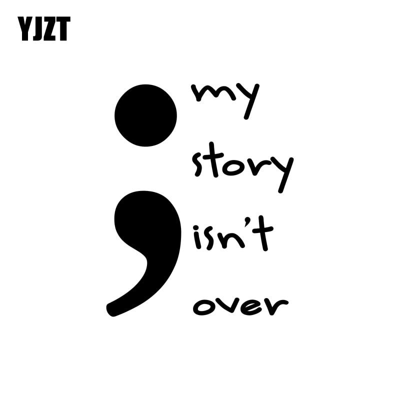 YJZT 12.9 ซม.* 16 ซม.Semicolon My Story ISN't Overสนุกไวนิลตกแต่งรูปลอกรถจักรยานยนต์สติกเกอร์รถสีดำ/เงินC11-1211