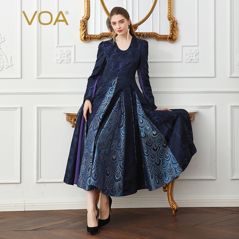 VOA Plus Size Heavy Silk Jacquard Print Vintage Pleated Party Dress Peacock Floral Women Korean High Waist Tunic Long Dress A127