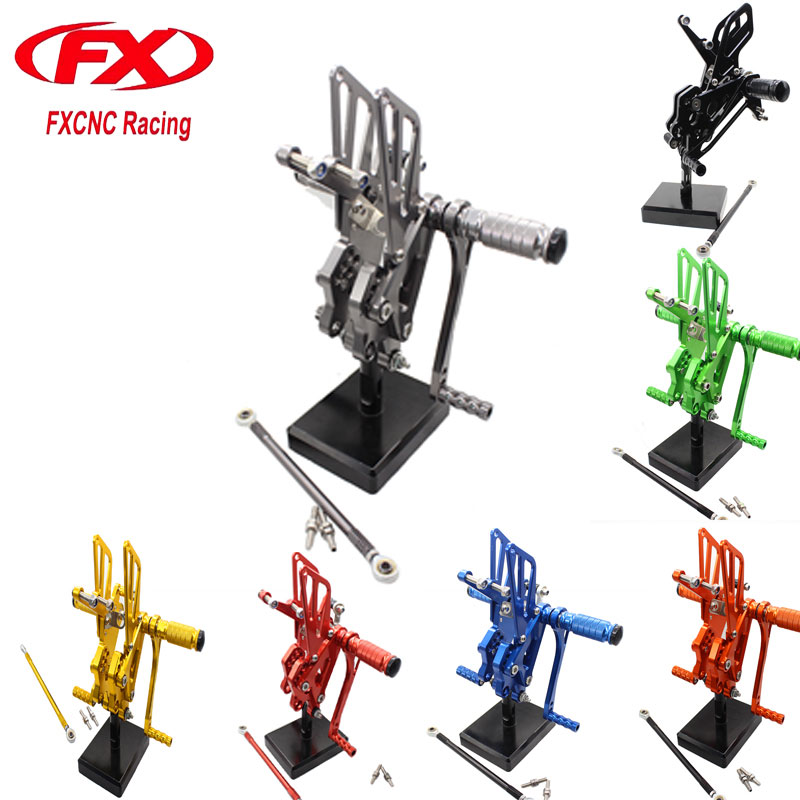 FX CNC Adjustable Motorcycle Foot Rests Rear Sets Foot Pegs Fit for KAWASAKI ZX10R ZX 10R 2004 2005  Rearset Accessories motorcycle accessories racing vintage clear lens uv protection helmet goggles glasses eyewears for 2004 2005 kawasaki zx10r