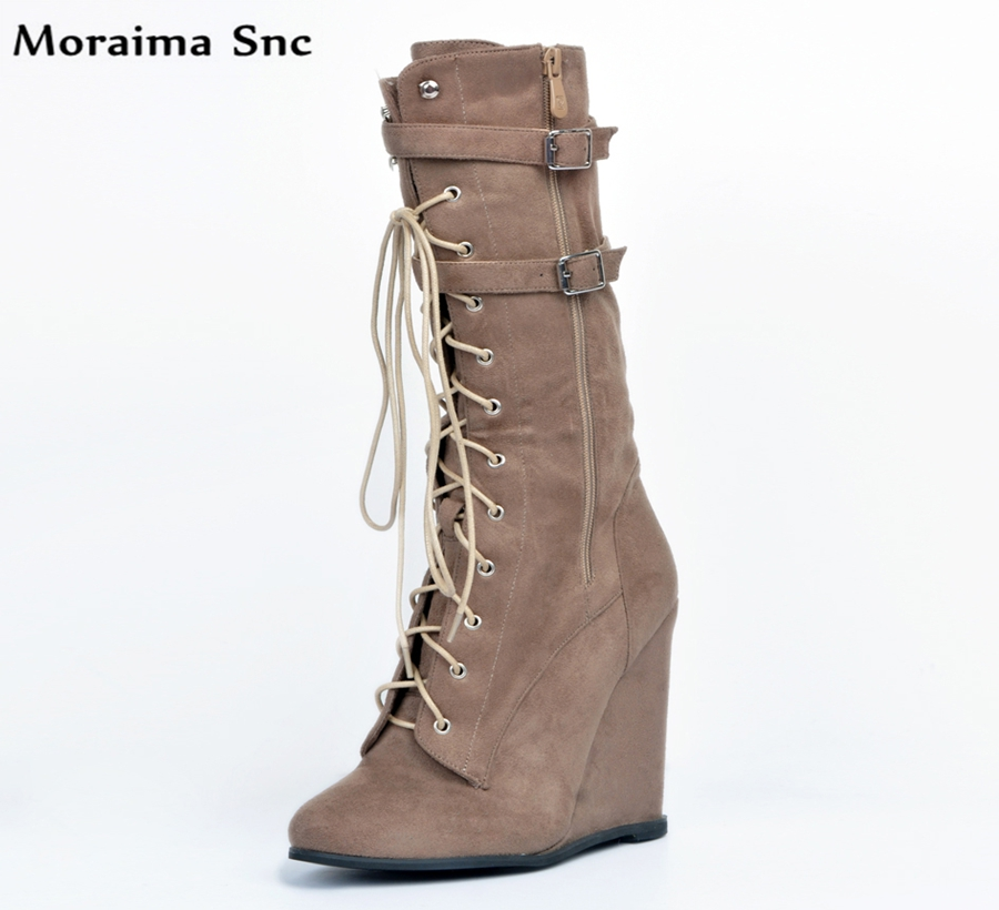 Moraima Snc Winter fashion women Boots Round toe Wedges Knee-high Gladiator boot Lace-up mid-calf strap Decoration moraima snc chic women winter platform pointed toe mid calf boots solid black lace up fringe vintage suede high heel