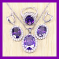 Elegant 925 Sterling Silver Purple Amethyst Jewelry Set For Women Crystal Rings/Earrings/Necklace Free Shipping 0075