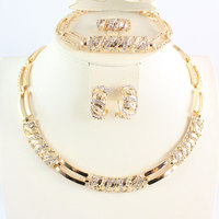 Women African Beads Jewelry Sets Cz Crystal Necklace Earring Ring Bracelet Jewelries Set 18K Gold Plated