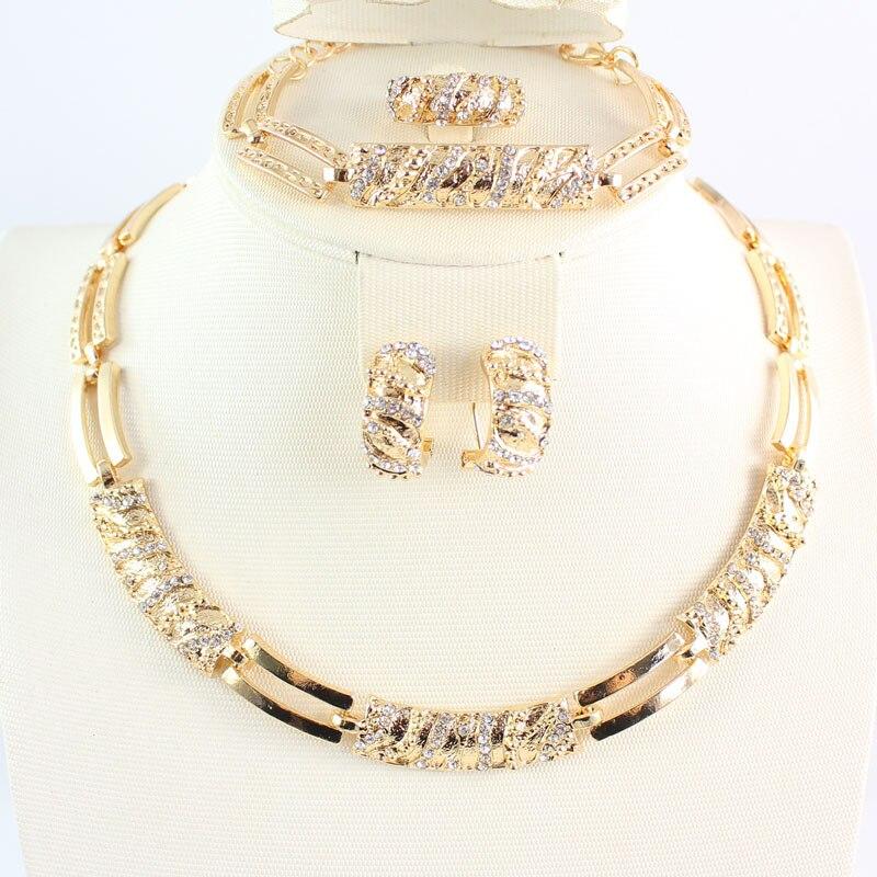 Conjuntos de joyería de cuentas africanas para mujer, collar de cristal Cz, pendiente, anillo, pulsera, conjunto de joyas, accesorios de declaración de Color dorado