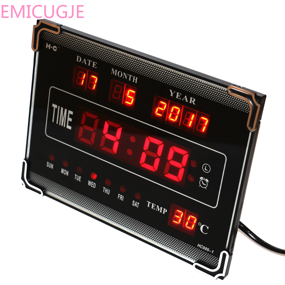 Electric Alarm Clock Home Decoration Red Hourly Chime LED Digital Wall Clock With Calendar Week Date Temperature Desktop