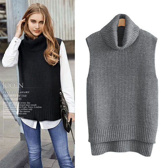 2018 Women Turtleneck Sweaters Winter Sleeveless Knitted Vest Gilet Spring  Autumn Thicken Wool Cashmere Sweater Female Pullover ac27c999c