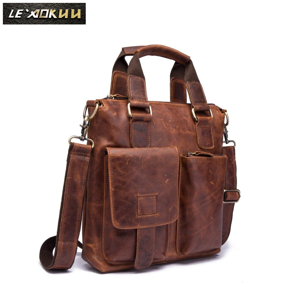 Men Original Leather Retro Designer Business Briefcase Casual 12 Laptop Travel Bag Tote Attache Messenger Bag Portfolio B259