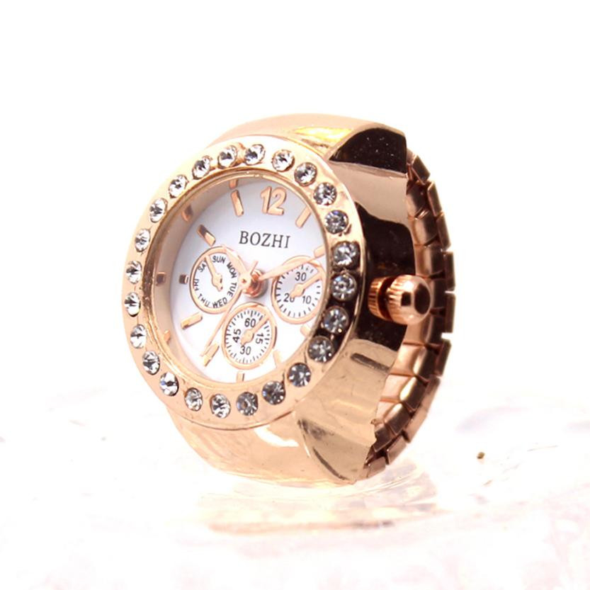 Creative Couple Clock Diamond Dial Watches Lover's Finger Ring Watch Women Men Fashion Elastic Stainless Steel Quartz Watch #LH(China)