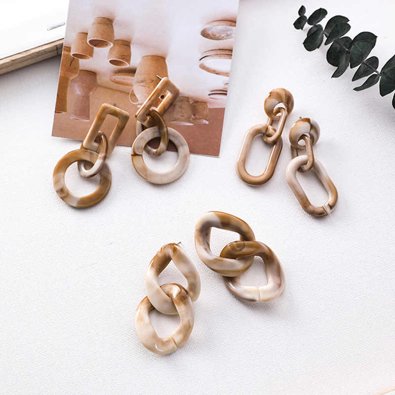 Norecorn Vintage Irrgular Texture Acrylic Geometric Loop Chain Statement Earrings For Women Ladies Chic Party Drop Earrings