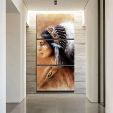 Retro Art Canvas Painting Print Feathered Native American Indian Girl Wall for Modern Home Decorative Modular 3PCS Drop Ship