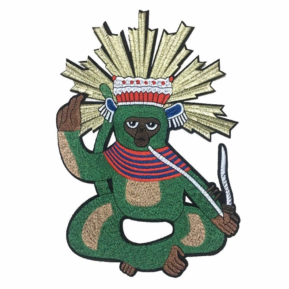 Зеленая обезьяна патчи ручной патчи для рюкзаки пришить Amimal вышитая аппликация патч для одежды DIY аксессуары для одежды ...