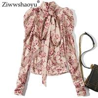 Ziwwshaoyu High quality women's shirt high collar long sleeve puff sleeve retro shirt bohemian women's jacket track new