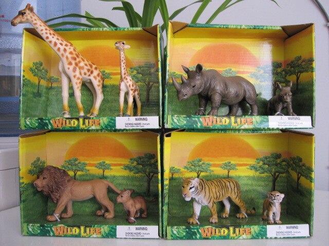 pvc  figure Wild animal model solid model lion rhino tiger giraffe 8pcs/set pvc figure assembly simulation animal model dinosaur tiger elephant horse sheep kitten puppy model 25pcs set