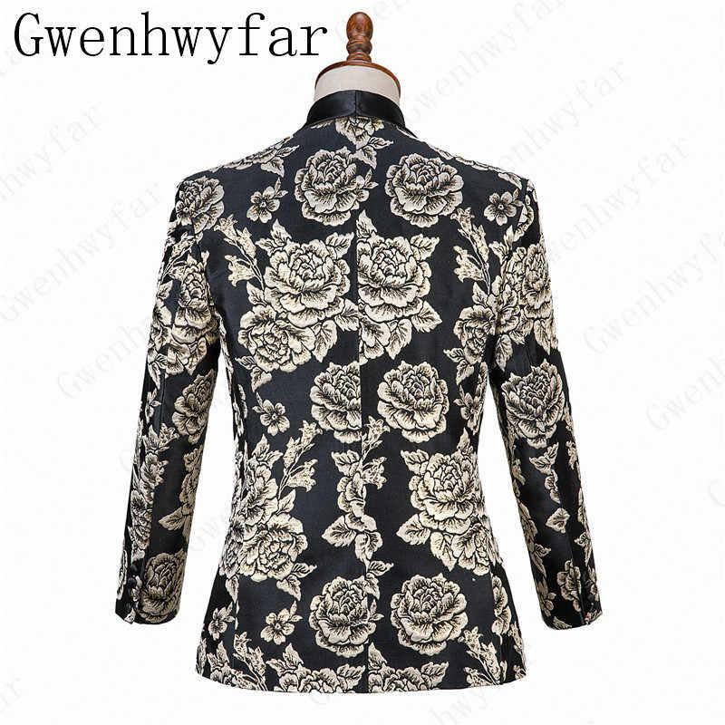 Черный фон с золотым цветком, мужские шали с отворотом, смокинги для жениха, мужские костюмы на свадьбу, выпускной ужин, лучший мужской блейзер (куртка + брюки)