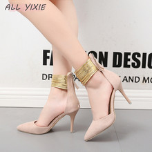 ALL YIXIE 2019 New Fashion Wild Ladies High Heels Sandals Casual Hollow Pointed Elegant Party Wedding Large Size Women