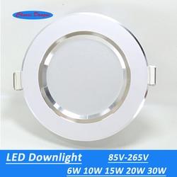 10 pcs/Lot Led Downlights 6W 10W 15W 20W 30W 110V/220V LED plafond Downlight 2835 lampes Led plafonnier éclairage intérieur à la maison