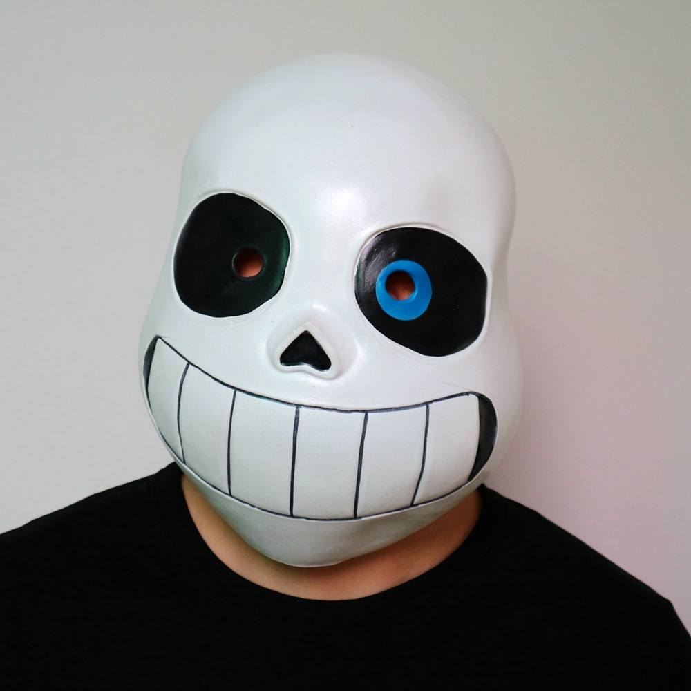 Sans Cosplay Latex Mask Undertale COOL SKELETON Halloween Skull Cos Headgear Adult Cosplay Accessory White Black Blue Eye Mask