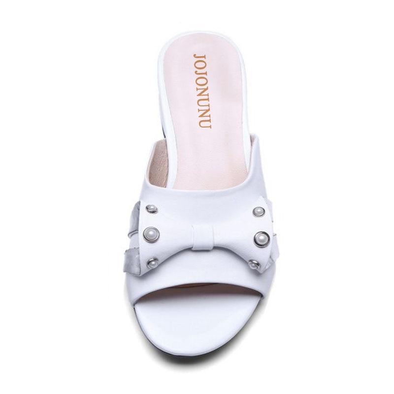 Pantoufles Sandales Taille Hauts 39 34 Véritable Femmes Arc Cuir Noir Jojonunu D'été Robe blanc Chaussures Talons En pas Perles Élégantes À IanOw
