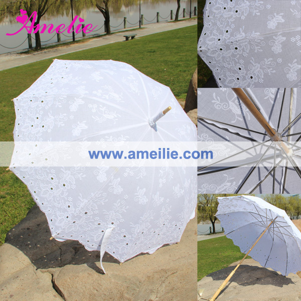 5pcs/lot DHL Or EMS Free Shipping Excellent Embroidery Victorian White Lace Parasol