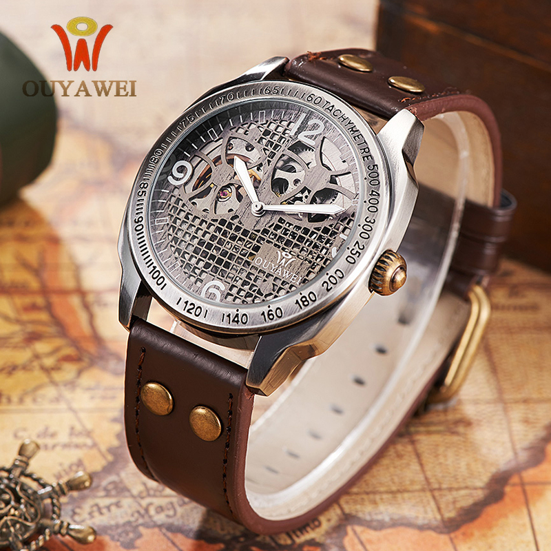 OUYAWEI Watches Men Top Brand Luxury Automatic Mechanical Watches Skeleton Wrist Watch Style Genuine Leather Bracelet Watch Men new mechanical hollow watches men top brand luxury shenhua flywheel automatic skeleton watch men tourbillon wrist watch for men