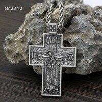 MCSAYS Norse Vichingo Gioielli Croce Gesù Luna Modello Pendente Dell'annata Collana Mens Gioielli Christian Religioso Amuleto Regali 3SL
