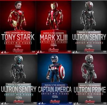 6pcs Marvel Avengers Super Hero Iron Man Captain America Sentry Artist Mix Bobble Head  Action Figure Toys