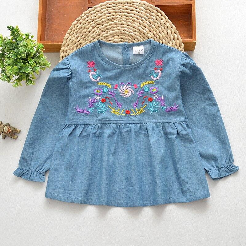 2018 Neue Baumwolle Denim Kinder Kittel Anti-tragen Wasserdichte Bluse Hause Baby Kleidung Nette Bib