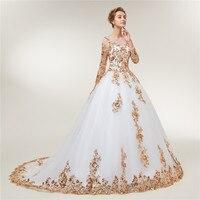 Fansmile Long Sleeve Golden Lace Vestido De Noiva Wedding Dresses 2018 Train Custom-made Plus Size Bridal Wedding Gowns FSM-404T 2